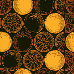 Seamless background with orange. Vector pattern.