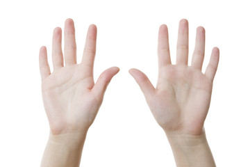 Two female hands, palms up isolated