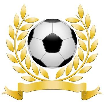 Laurels, gold, football on white background