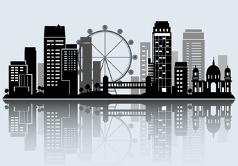 Night City skyline design. Vector silhouette