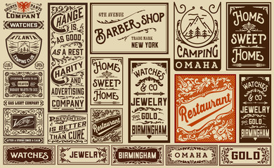 mega pack old advertisement designs and labels - Vintage illustr Fototapete
