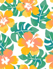 Seamless watercolor hibiscus pattern