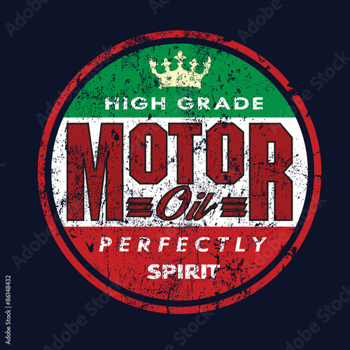 quotvintage motor oil signs and label tshirtquot stock image
