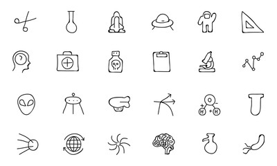 Science Hand Drawn Doodle Icons 4
