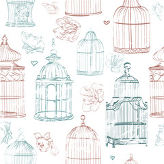 seamless pattern with cages