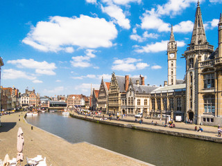 Embankment Graslei - the historic center of Ghent, Belgium