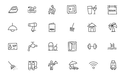 Hotel and Restaurant Doodle Icons 2