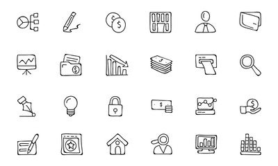 Finance Hand Drawn Doodle Icons 6