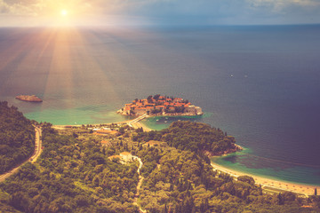 View of the peninsula of Sveti Stefan from the height of the mountains.