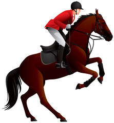 Equestrian Sport Derby Showjumping horse and Rider realistic vector illustration