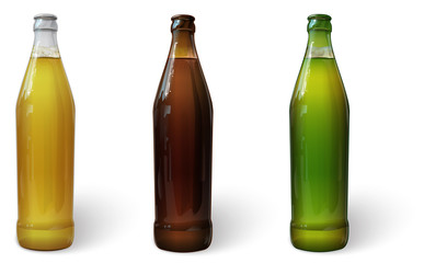 Beer in a bottle.  Green bottle of beer. Brown bottle of beer. Glass bottle of beer. Vector