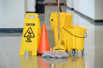 Wet Floor Sign With Mop