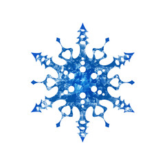 Frozen snowflake on white background