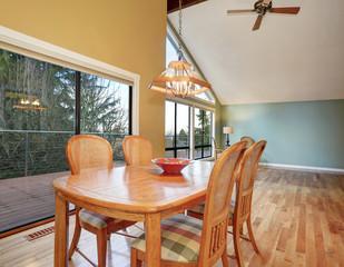 large dinning area with hardwood floor.