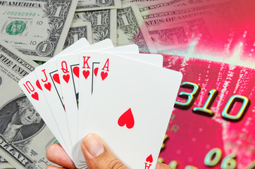 flush playing cards on hand