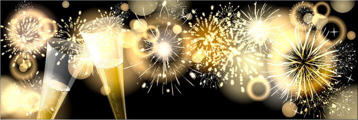Feuerwerk mit Sektgläser
