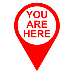 Icono texto YOU ARE HERE localizacion rojo