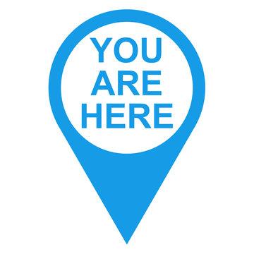 Icono texto YOU ARE HERE localizacion azul