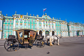 Carriage in front of Winter Palace in Saint Petersburg,Russia