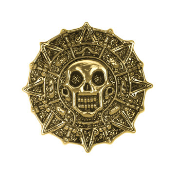 aztec golden coin on white background