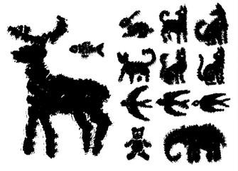 Set of grunge ink vector elements.