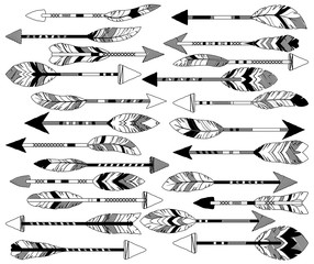 Vector Collection of Doodle Tribal Feather Arrows