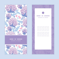 Vector soft purple flowers vertical frame pattern invitation
