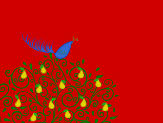 Partridge in a Pear Tree on Red With Room for Text