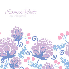 Vector soft purple flowers horizontal frame seamless pattern