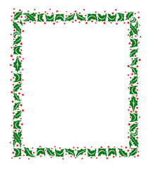 Christmas Frame of Holly Leaves
