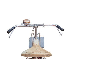 Fornt part of vintage bycicle. View from bikers eyes isolated on