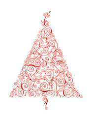 Christmas  Red Curlicue Tree
