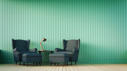 Navy blue sofa and green wall with vertical stripes / 3D render image classical composition