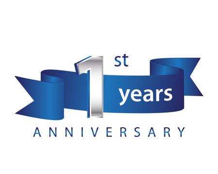 1 Years Anniversary Logo Blue Ribbon