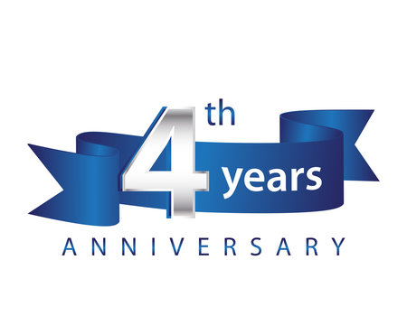 4 Years Anniversary Logo Blue Ribbon