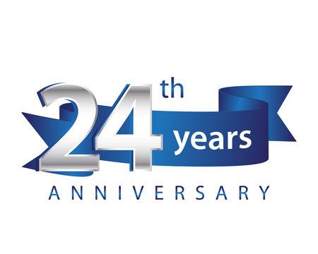 24 Years Anniversary Logo Blue Ribbon