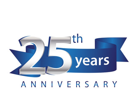 25 Years Anniversary Logo Blue Ribbon