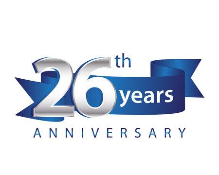 26 Years Anniversary Logo Blue Ribbon