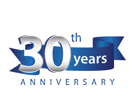 30 Years Anniversary Logo Blue Ribbon
