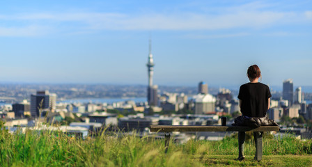 Woman enjoys spectacular morning views of Auckland city