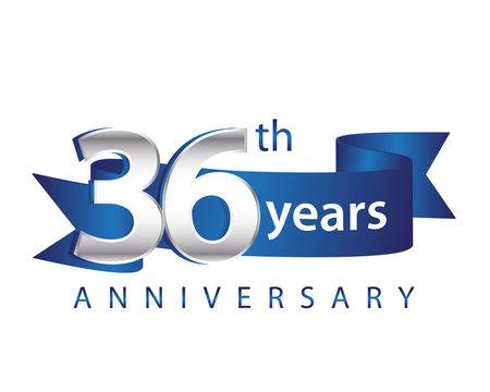 36 Years Anniversary Logo Blue Ribbon