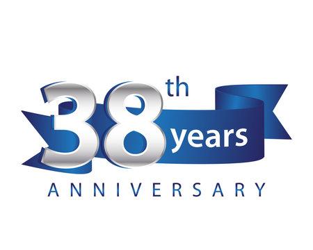 38 Years Anniversary Logo Blue Ribbon