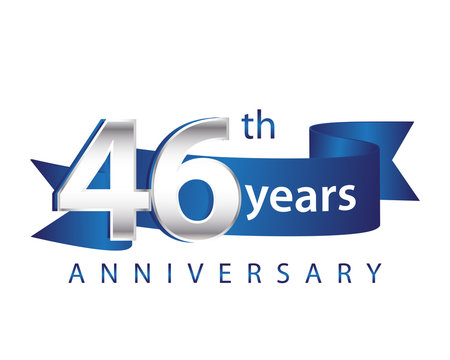 46 Years Anniversary Logo Blue Ribbon