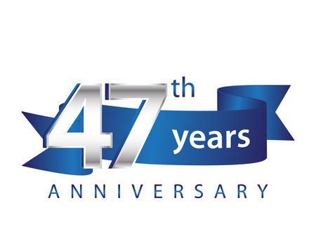 47 Years Anniversary Logo Blue Ribbon