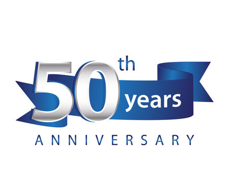 50 Years Anniversary Logo Blue Ribbon