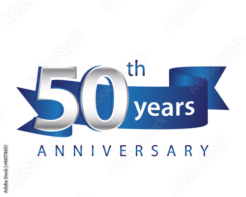 Quot years anniversary logo blue ribbon stock image and