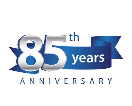 85 Years Anniversary Logo Blue Ribbon