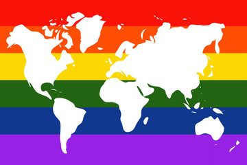 Grunge gay pride flag with world map
