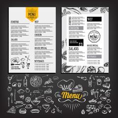 Cafe menu restaurant brochure. Food design template.