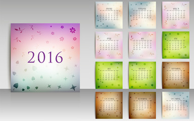 Calendar set for 2016 in blurred smooth design with seasonal ele